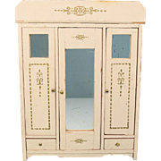 """Antique German Dollhouse Wooden Armoire 1 1/2"""" Scale Early 1900s"""