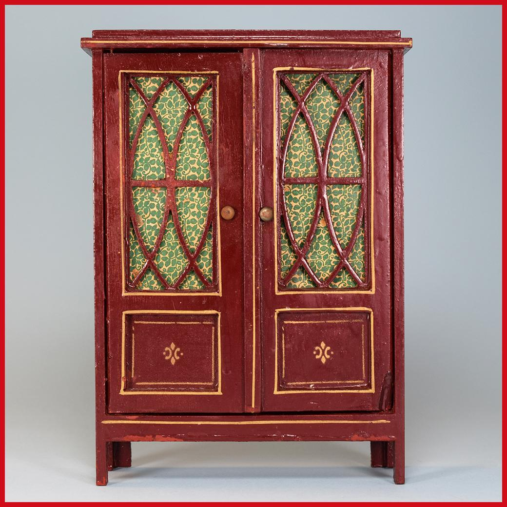 Wooden China Cabinet ~ Antique german dollhouse wooden china cabinet by