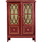 """Antique German Dollhouse Wooden China Cabinet by Gottschalk Early 1900s Large 1"""" Scale"""