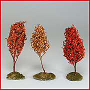 "Set of 3 Vintage Dollhouse Miniature Landscape Trees 3/4"" Scale 1930s"