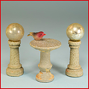 "Dollhouse Bird Bath and Pair of Gazing Balls on Pedestals - Easy Built Garden Accessories by Jefferson Sales and Co. 1940s - 1950s Small 1"" Scale"
