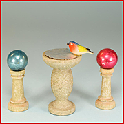 "Pair of Dollhouse Gazing Balls on Pedestals and Bird Bath - Easy Built Garden Accessories by Jefferson Sales and Co. 1940s - 1950s 1"" Scale"