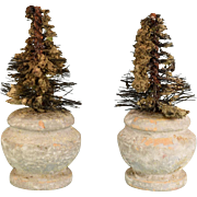 "Pair of Dollhouse Miniature Potted Trees - Garden Accessories 1940s - 1950s 1"" Scale"