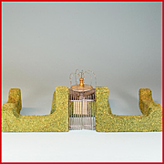 "Dollhouse Miniature Hedge, Gate and Fountain 1940s - 1950s 1"" Scale"