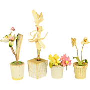 "Four Antique German Dollhouse Flowering Plants in Wooden Pots 1910 - 1920s 1"" Scale"
