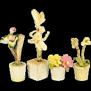 "Four Antique German Dollhouse Flowering Plants in Wooden Pots 1910 - 1920s 1"" Scale"
