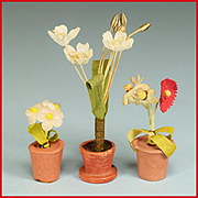 "Trio of German Dollhouse Flowering Plants in Clay Pots 1940s - 1950s 1"" Scale"