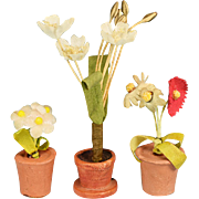 """Trio of German Dollhouse Flowering Plants in Clay Pots 1940s - 1950s 1"""" Scale"""