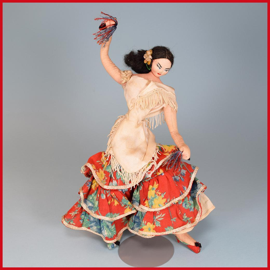 "11""  Layna Doll - Spanish Flamenco Dancer - Cloth and Wire Tourist Doll 1950s - 1960s"