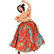"11"" Spanish Flamenco Dancer Layna Souvenir Doll - Cloth and Wire 1950s - 1960s"