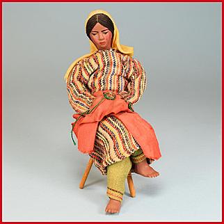 "6"" Jewish Souvenir Girl Doll From Yemen - Fired Terra Cotta Doll 1955"