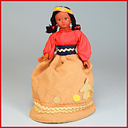 "7"" Vintage Native American Souvenir Girl Doll Purse - Rubber 1950s"