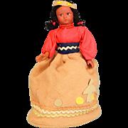 "7"" Vintage Native American Souvenir Girl Doll Purse - Rubber 1950s"