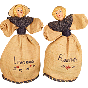 "8 1/2"" Pair of Italian Souvenir Doll Purses - Pressed  Heads 1950s - 1960s"