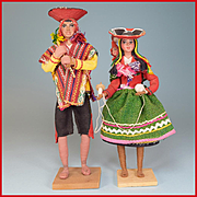 "9"" - 10"" Two Souvenir Dolls from Peru - Molded Clay and Wire 1960s"