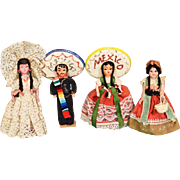 "6"" - 6 1/2"" Mexican Souvenir Hard Plastic Dolls - Group of 4 1950s - 1960s"