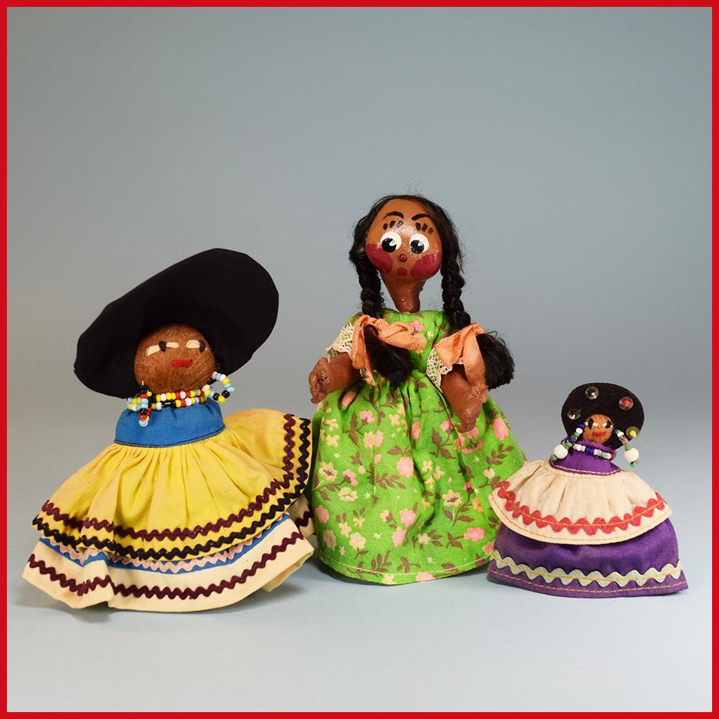 "3"" - 6"" Group of 3 Souvenir Dolls - 2 Seminole Indian Dolls and a Mexican Straw and Gourd Doll 1960s"