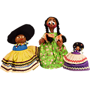 """3"""" - 6"""" Group of 3 Souvenir Dolls - 2 Seminole Indian Dolls and a Mexican Straw and Gourd Doll 1960s"""