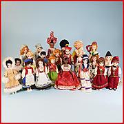"7 1/2"" International Souvenir Dolls - Group of 22 Hard Plastic Dolls 1950s - 1960s"