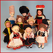 "6"" to 7"" International Souvenir Dolls - Group of 10 Dolls 1950s - 1960s"