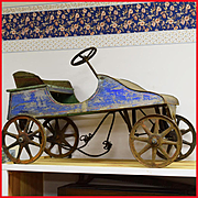 Early 1900s Tin and Wood Antique Pedal Car