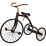 1930s Cast Metal Tricycle with Leather Seat Original Condition