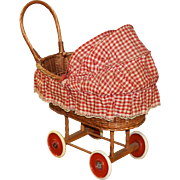 Vintage Wicker Doll Buggy - Doll Carriage 1950s - 1960s