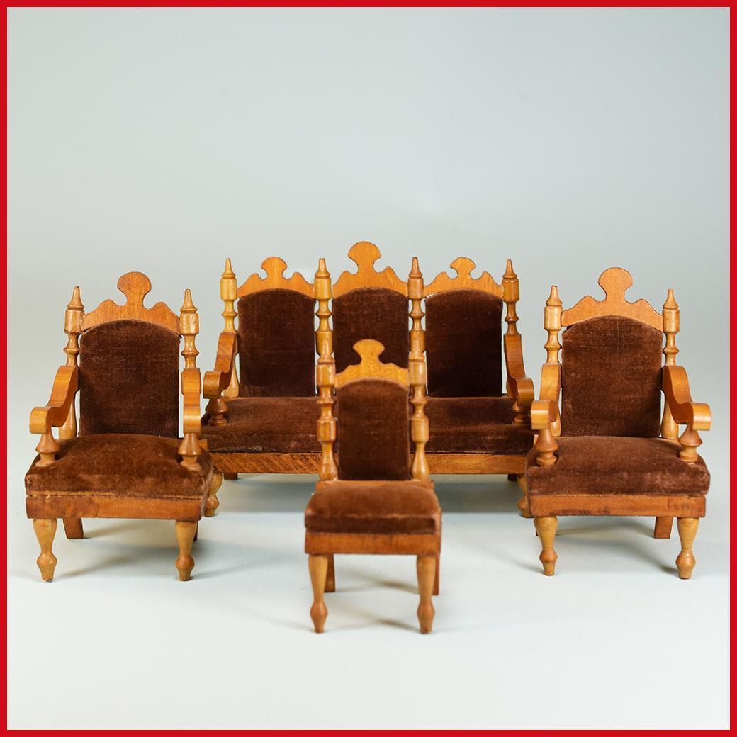 "4 Pc. Antique German Dollhouse Parlor Suite by Schneegas – Late 1800s 1"" Scale"