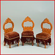 "Trio of Antique German Dollhouse Side Chairs by Schneegas – Late 1800s 1"" Scale"