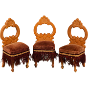 """Trio of Antique German Dollhouse Side Chairs by Schneegas – Late 1800s 1"""" Scale"""