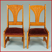 "Pair of Art Nouveau German Dollhouse Side Chairs – Early 1900s 1"" Scale"
