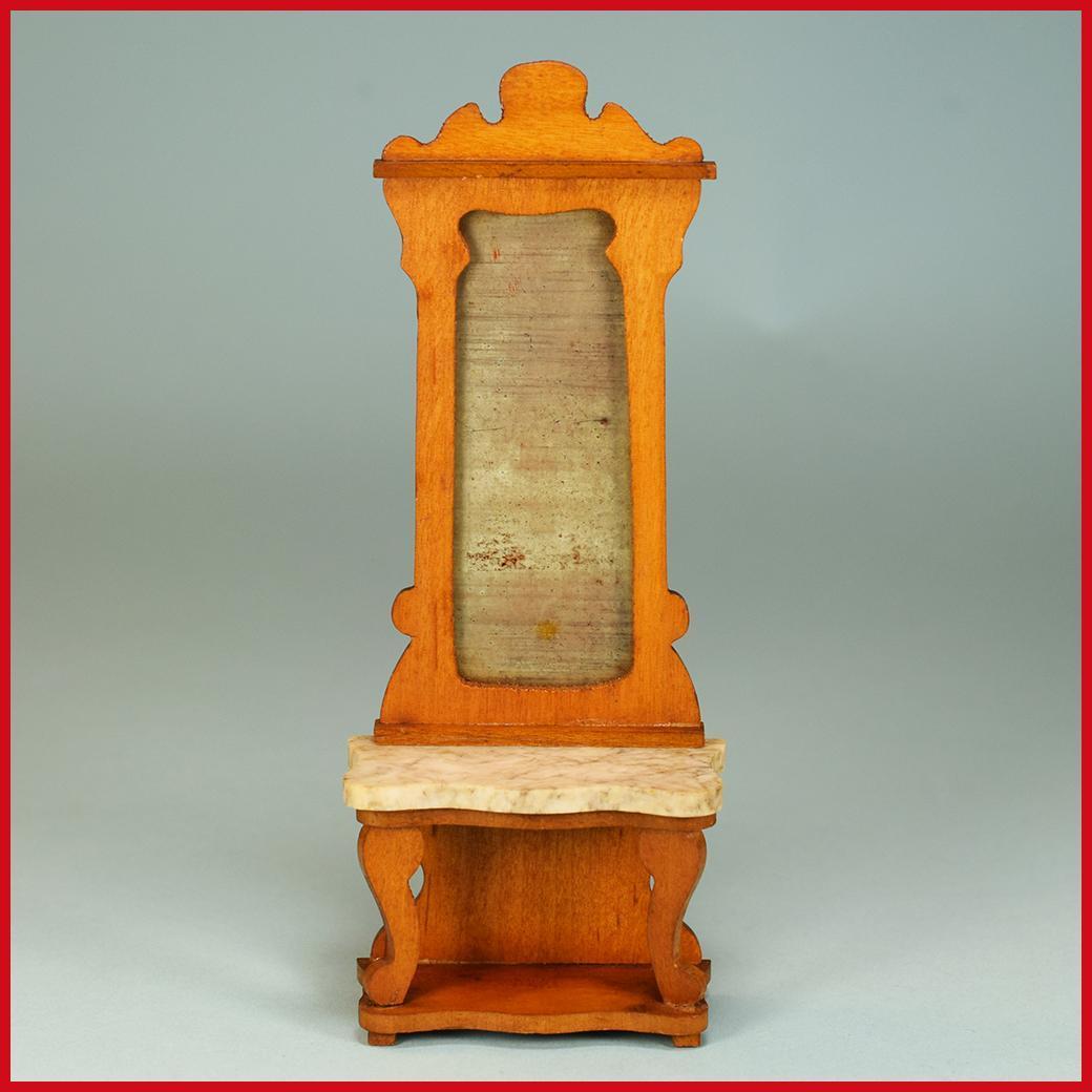 "Antique German Dollhouse Pier Mirror by Schneegas – Late 1800s 1"" Scale"