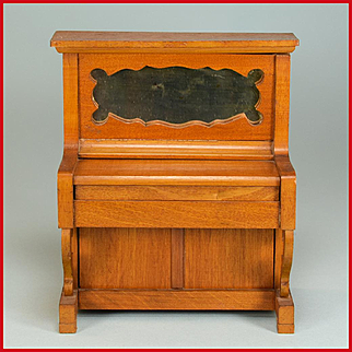 "Antique German Dollhouse Upright Piano by Schneegas – Late 1800s 1"" Scale"