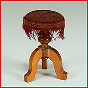 """Antique German Dollhouse Piano Stool by Schneegas with Providence – Late 1800s Large 1"""" Scale"""