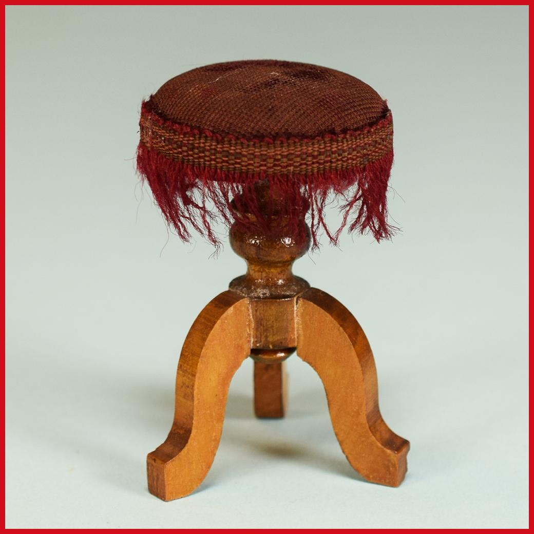 "Antique German Dollhouse Piano Stool by Schneegas with Providence – Late 1800s Large 1"" Scale"