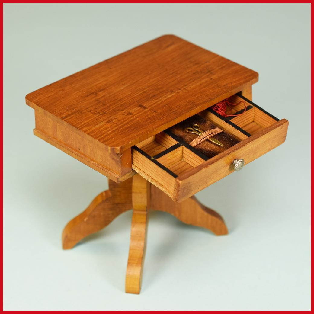 """Antique German Dollhouse Sewing Table by Schneegas – Late 1800s Large 1"""" Scale"""