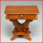 """Fancy Antique German Schneegas Dollhouse Sewing Table – Late 1800s Large 1"""" Scale"""