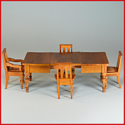 "Antique Dollhouse Extension Dining Table with 4 Chairs by Schneegas – Late 1800s 1"" Scale"