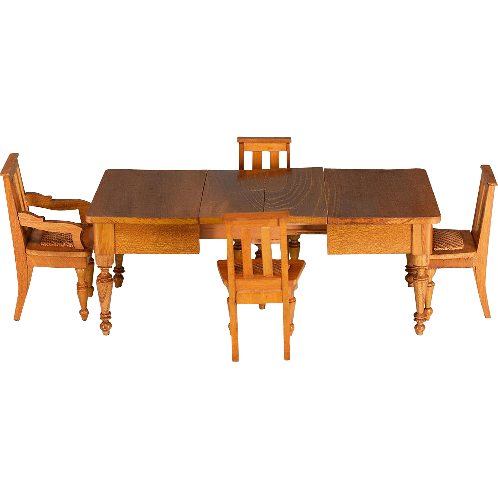 Antique Dollhouse Extension Dining Table With 4 Chairs By