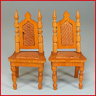 "Pair of Antique Schneegas Dollhouse Dining Room Side Chairs – Late 1800s 1"" Scale"