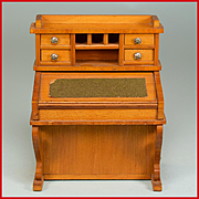 "Antique German Dollhouse Davenport Desk by Schneegas with Provenance – Late 1800s Large 1"" Scale"