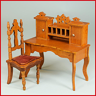 "Antique Schneegas Dollhouse Desk with Chair – Late 1800s with Provenance Large 1"" Scale"