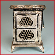 """Antique German Dollhouse Soft Metal Apartment Stove Early 1900s 1"""" Scale"""