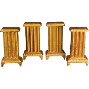 "Set of 4 German Dollhouse Gilt Cast Metal Radiator by Gerlach 1920s - 1930s 1"" Scale"