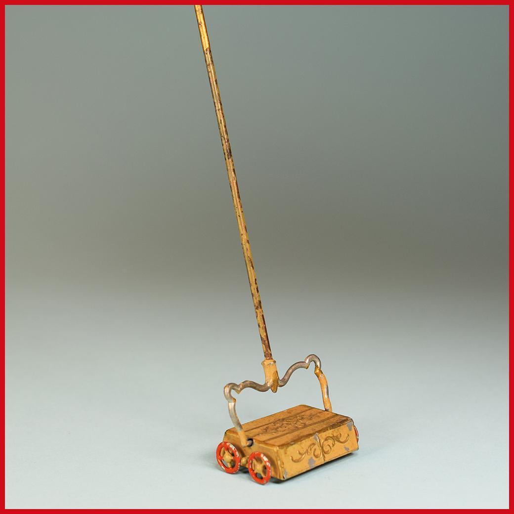 "Antique German Dollhouse Cast Metal Carpet Sweeper 1910 Large 1"" Scale"