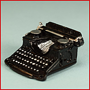 """Dollhouse Miniature Cast Pewter Typewriter 1930s 1"""" Scale"""