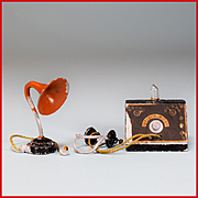 "German Crystal Radio with Earphones and Speaker 1920s – 1930s Large 1"" Scale"