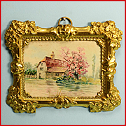 "Antique German Dollhouse Ormolu Picture Frame with Farmhouse in the Country by Erhard and Son Early 1900s 1"" Scale"