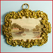 "Antique German Dollhouse Ormolu Picture Frame with Rural House on a Lake by Erhard and Son Late 1800s 1"" Scale"