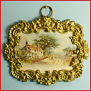"Antique German Dollhouse Ormolu Picture Frame with a Lithograph Print of a House in the Country by Erhard and Son Late 1800s 1"" Scale"